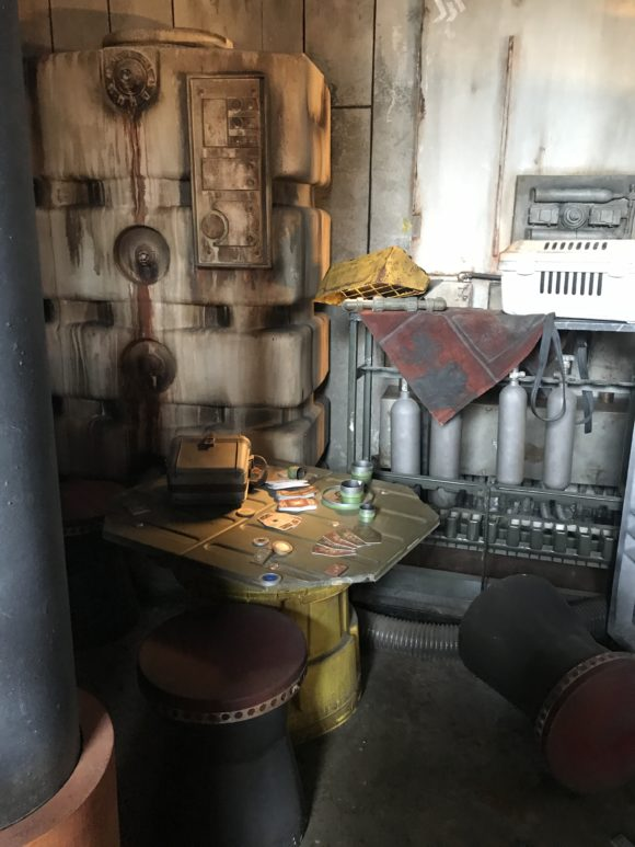 Inside area of the queue at the Smugglers Run Millennium Falcon at Star Wars Galaxy's Edge at Walt Disney World.