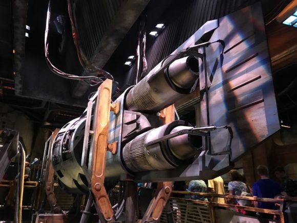 Inside at the queue of Smugglers Run Millennium Falcon at Star Wars Galaxy's Edge at Walt Disney World.