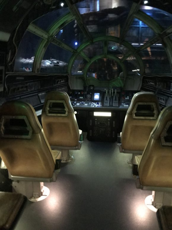 Inside the cockpit of the the Millennium Falcon at Star Wars Galaxy's Edge at Walt Disney World.