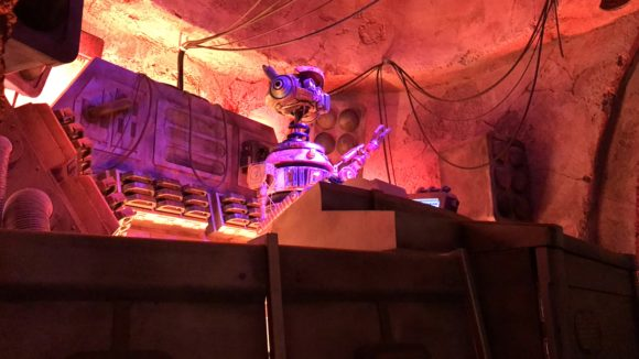 a droid acts as a DJ at Oga's Cantina at Galaxy's Edge at Hollywood Studios.