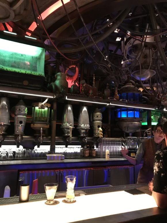The bar at Oga's Cantina at Star Wars Galaxy's Edge at Hollywood Studios.