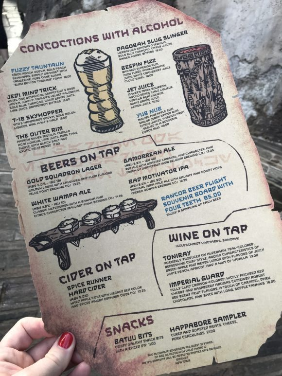 Star Wars Galaxy's Edge Oga's Cantina Drink menu