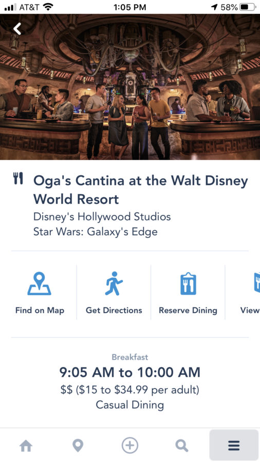 Use the Walt Disney World app to make a reservation for Oga's Cantina.