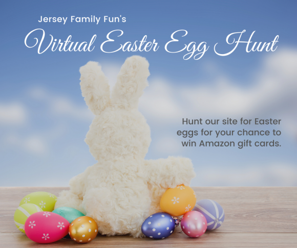 Picture of Easter Bunny with Easter Eggs for Jersey Family Fun's virtual Easter Egg Hunt.