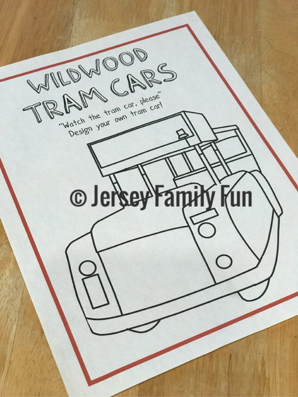 Wildwood Tram Car coloring page from the New Jersey Kids Activity Book from Jersey Family Fun.