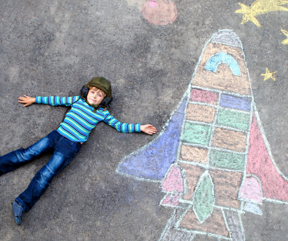 chalk the walk ideas - rocketship
