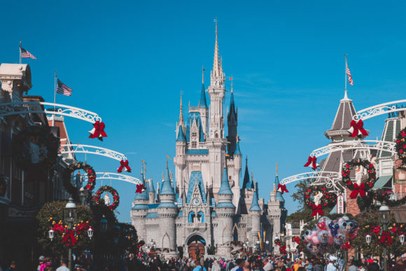 Walt disney world decorated for Christmas.