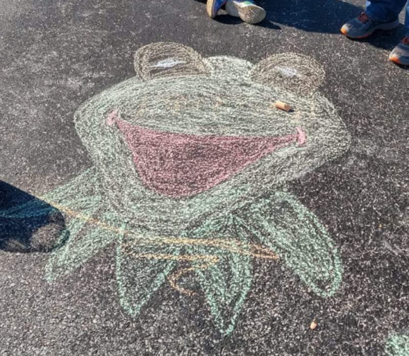 Chalk Art Idea - Kermit the Frog from the muppets