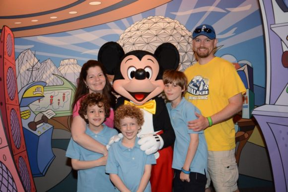 Family picture at Epcot at Walt Disney World