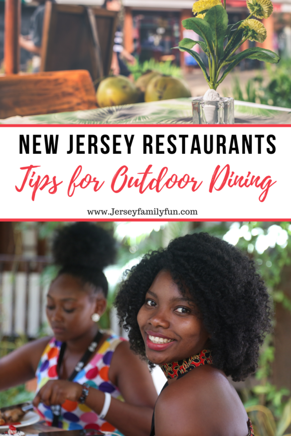 a collage of pictures to represent outdoor dining in New Jersey