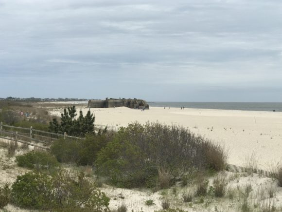 Beach with view of World War II at Cape May Point State Park