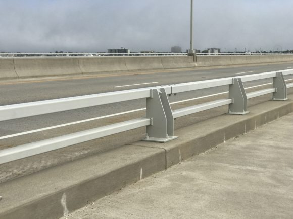 Road side guard rail on the Ocean City Bridge.