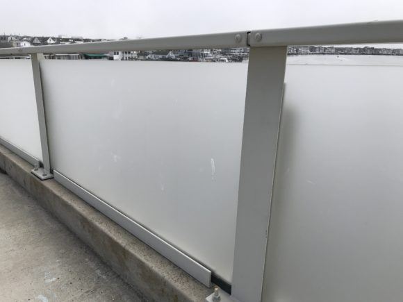 Plastic wall panelling on the Ocean City Bridge bay side.