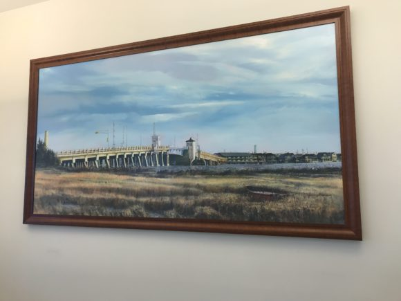 A painting of an older Ocean City bridge is on display at the Ocean City Visitors Center.