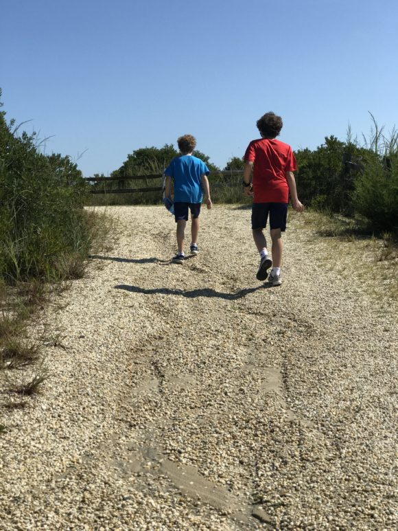 2 boys on a beachy trail at Cape May Point State Park
