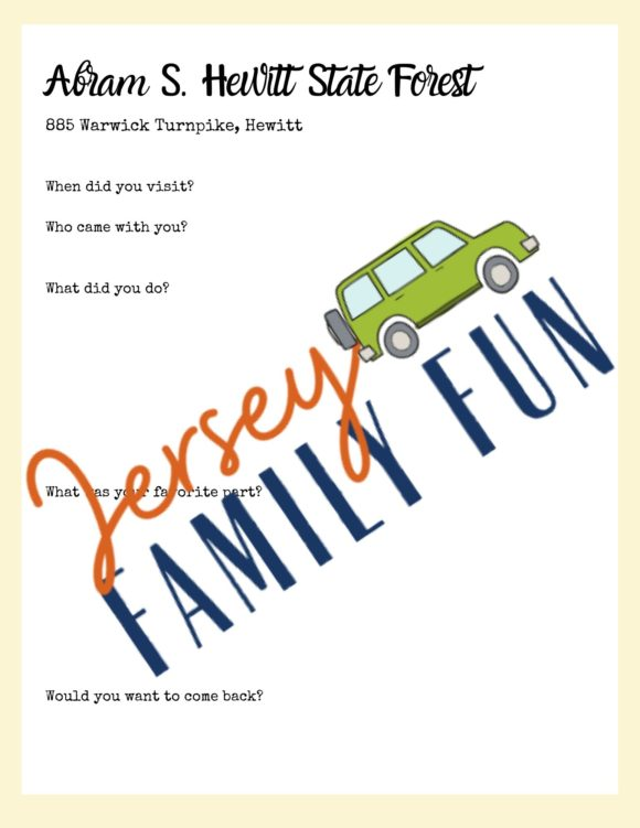 New Jersey State Parks & Forests, Travel Journal for Families sample page