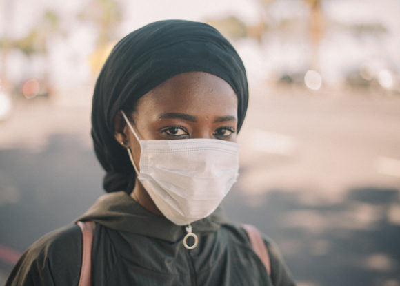 a student wears a mask