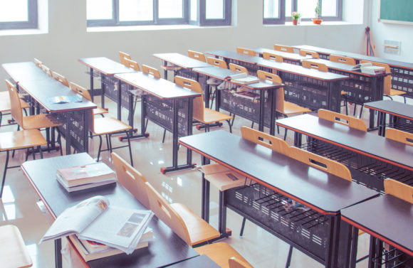 An empty classroom before New Jersey schools reopen