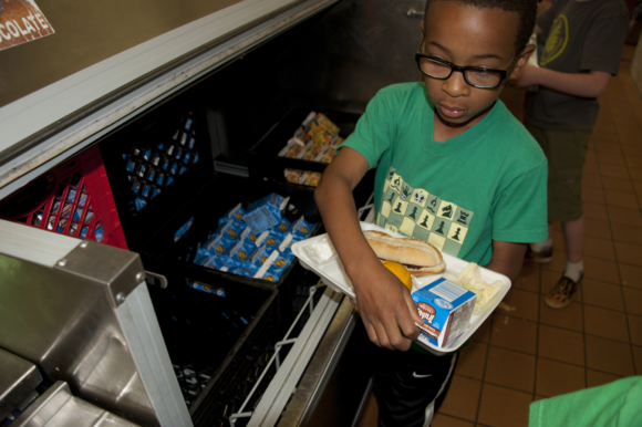 A student buys lunch at a New Jersey school.