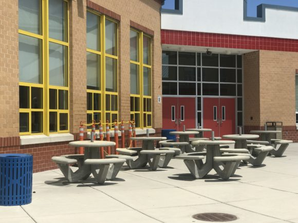 Some New Jersey schools have outdoor dining available for lunch time.