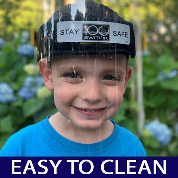 a NJ child stays safe wearing a clear face shield from Switlik.