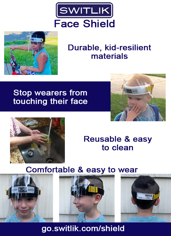 Switlik face shields are easy for students to use and to clean.