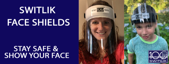 Switlik face shields are available for adults and children