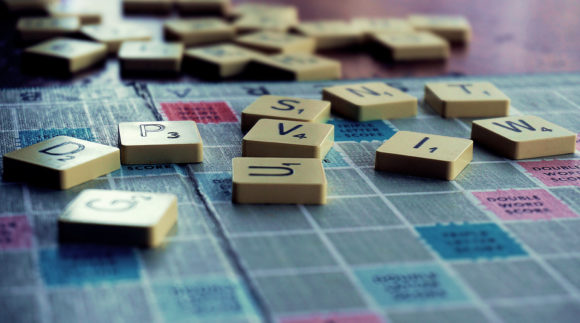 Word tiles from scrabble game