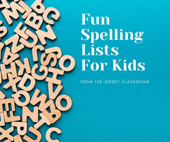 wooden letters on a blue background serve as a Facebook image for fun spellings lists for kids.