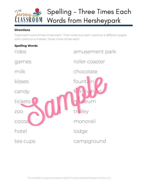 Hersheypark printables spelling list