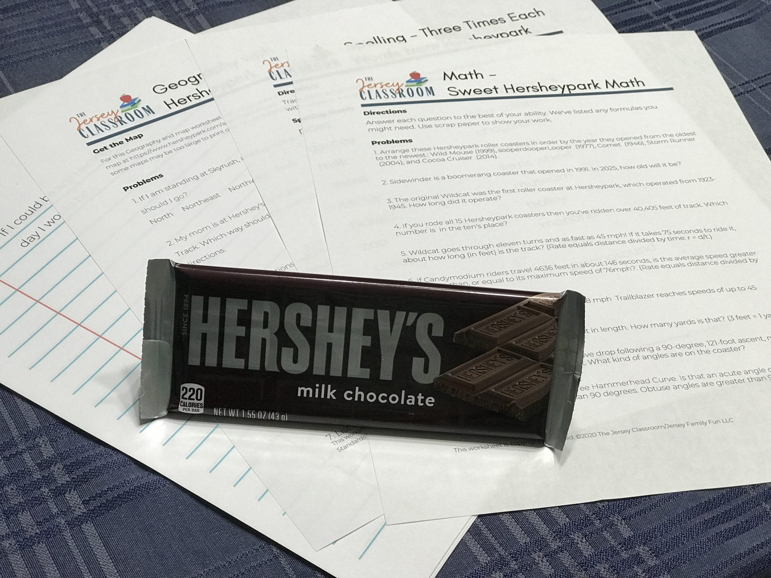 collection of Hersheypark printables and educational worksheets