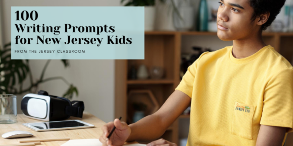 black boy in yellow shirt reflects on New Jersey writing prompts before writing in notebook.