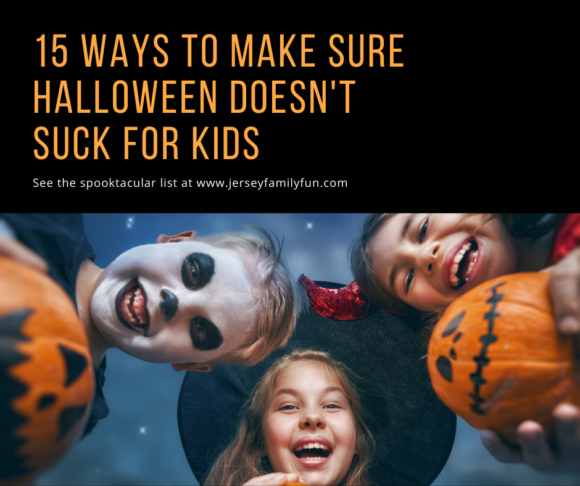 Facebook image for 15 Ways to Make Sure Halloween Doesn't Suck for Kids kids faces looking down. Kids wearing costumes and holding pumpkins.