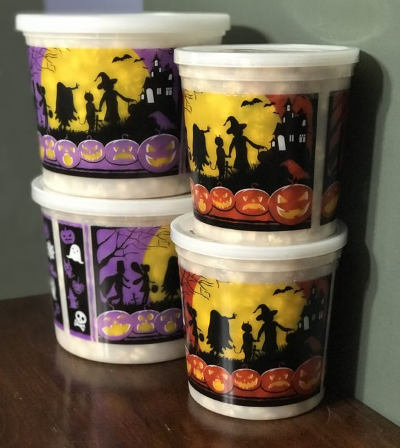 Johnson's Popcorn in Ocean City sells Halloween buckets of popcorn perfect for your Halloween boo baskets.