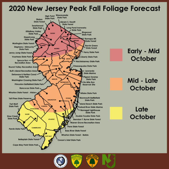 Image of New Jersey Peak Fall Foliage Forecast as of 9/23/2020.