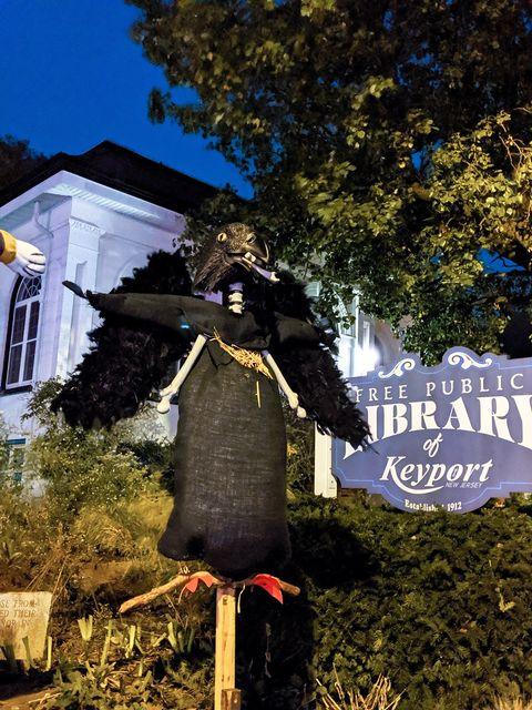 black crow scarecrow from Keyport Public Library Scarecrow contest Photo credit ©Alexandra Yanosh @artofxan