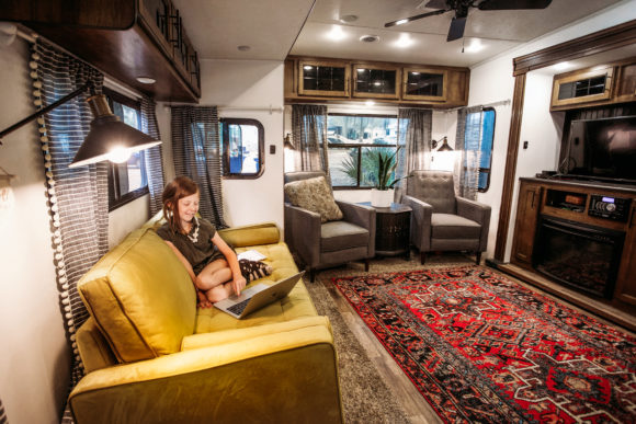 girl does virtual learning from inside an RV rental.