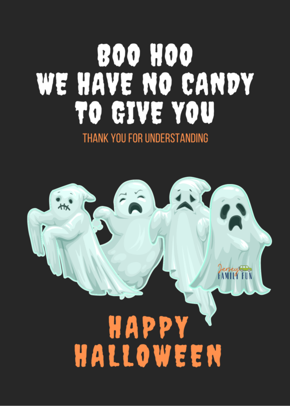 No Candy for Halloween Trick or Treating free printable downloadable sign