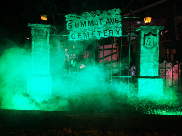 Summit Avenue Cemetery Halloween house display in New Jersey.