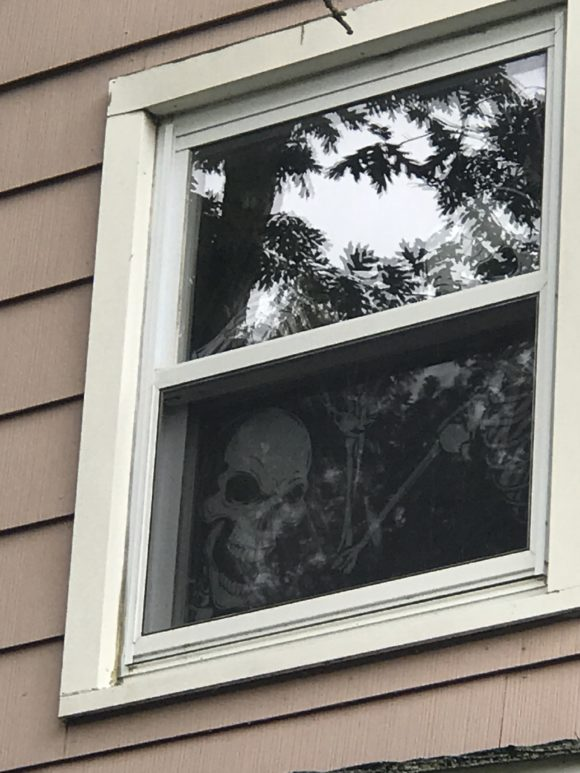 A skeleton appears to be peering through a window as part of Halloween decorations.