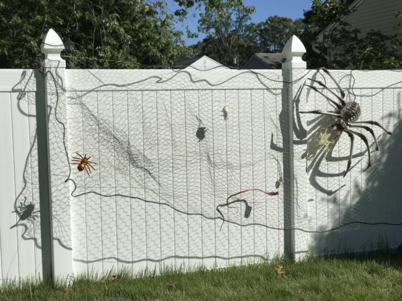 A fence is decorated with an outside Halloween decoration of a spider web complete with a giant spider, small spiders, snakes, rodents, and bugs.