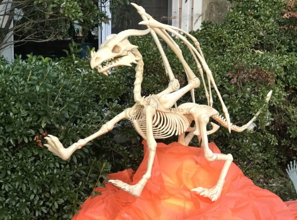 Oriental Trading Company dragon skeleton outside Halloween decorations