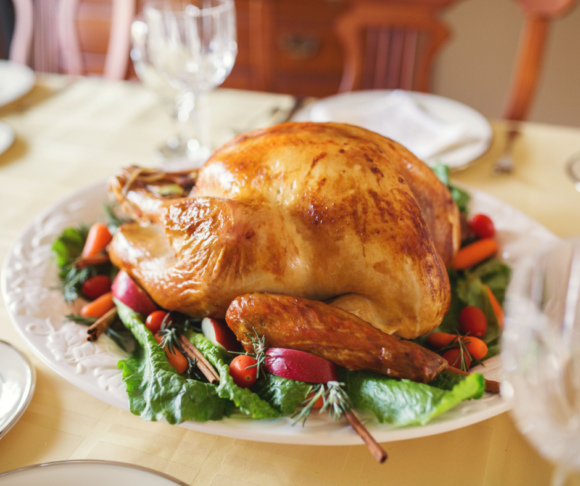 a turkey from a New Jersey restaurant offering take out Thanksgiving day meals.