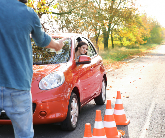 female teenager takes her road test to get a New Jersey Driver's license