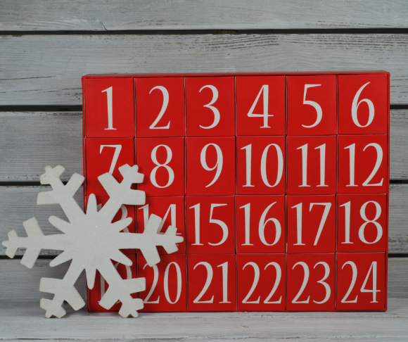 Red and white advent calendar for teens with refillable boxes
