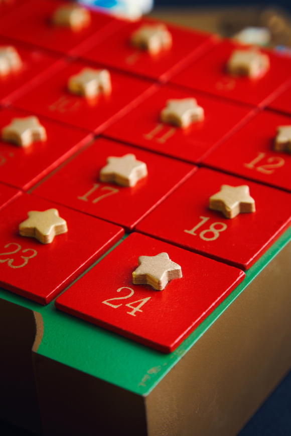 Image of the corner of an advent calendar for teens.