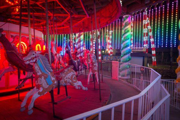 Six Flags Great Adventure drive thru Christmas lights merry go round