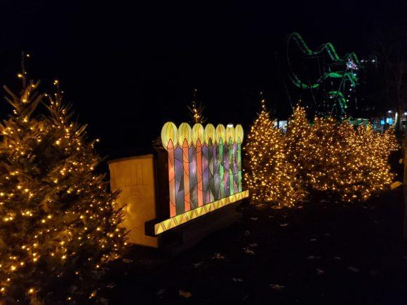 Lighted menorah luminary at Six Flags Great Adventure drive thru Christmas lights