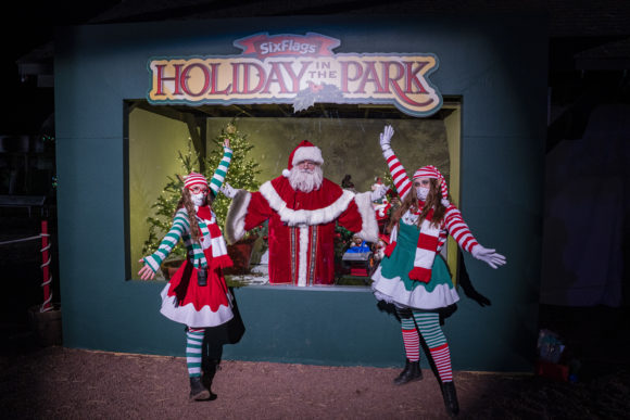 Santa-Claus-and-elves-at-Six-Flags-Great-Adventure-drive-thru-Christmas-lights