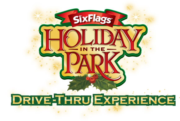 logo for Six Flags Great Adventure Holiday in the Park drive thru